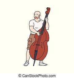 音楽家, 遊び, 大きい, 二重 低音, チェロ, 漫画, ∥あるいは∥, 音楽, 隔離された, -, 通り, 人