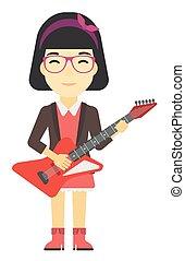 音楽家, guitar., 遊び, 電気である