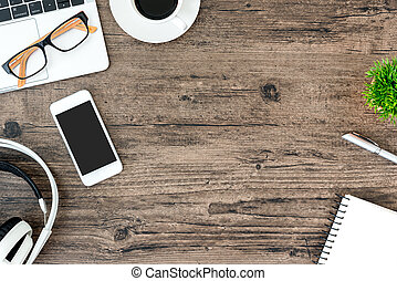 音楽装備, オフィス机, ヘッドホン, 木, 光景, コピー, 聞くこと, 上, 白, space., テーブル, 仕事, ブラウン