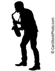 音楽, ほんの少し, サクソフォーン, 人