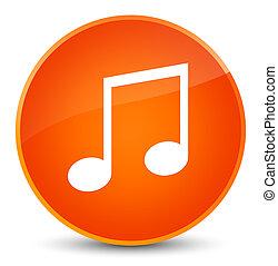音楽, アイコン, 優雅である, オレンジ, ラウンド, ボタン