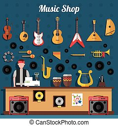 音楽, イラスト, 店