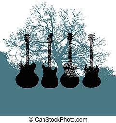 音楽, ギター, 背景, 木