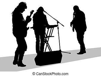 音楽, グループ, 人々