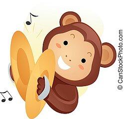 音楽, サル, シンバル, マスコット