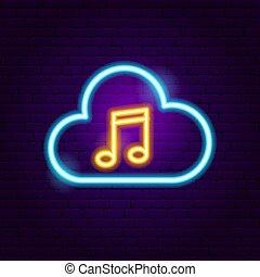 音楽, ネオン, 雲, 印