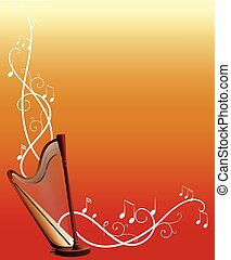 音楽, ハープ, テンプレート, 背景, メモ