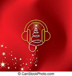音楽, ヘッドホン, 木, クリスマス