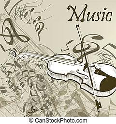 音楽, ベクトル, バイオリン, 背景