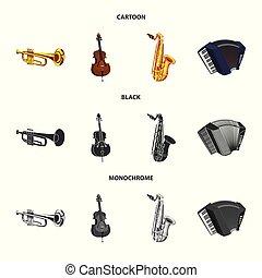 音楽, ベクトル, 印。, 調子, オブジェクト, stock., 隔離された, セット, 道具, アイコン
