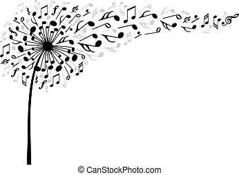 音楽, ベクトル, 花, タンポポ