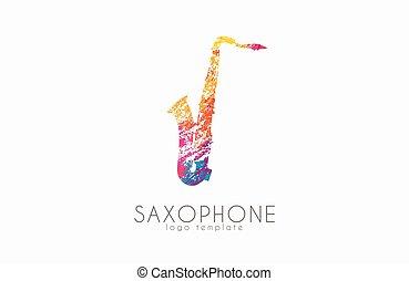 音楽, ロゴ, design., サクソフォーン, style., 色, logo., グランジ, 創造的