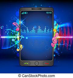 音楽, 上に, 移動式 電話