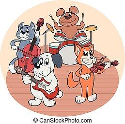 音楽, 動物, 四つ組, 遊び