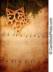 音楽, 古い, クリスマス, 背景, シート