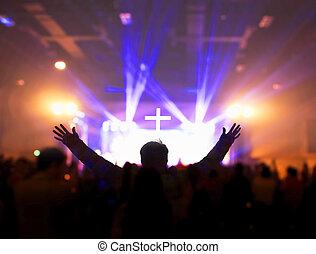 音楽, 夜, コンサート, 教会, concept:christians, 上げること, 称賛, 崇拝, ∥(彼・それ)ら∥, 手