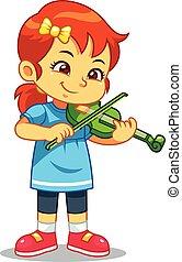 音楽, 女の子, 練習する, 彼女, バイオリン