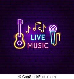 音楽, 生きている, ネオン 印