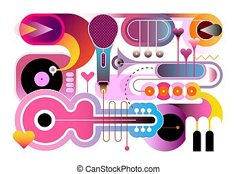音楽, 背景, 抽象的