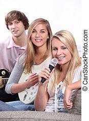 音楽, 遊び, グループ, ティーネージャー, 家