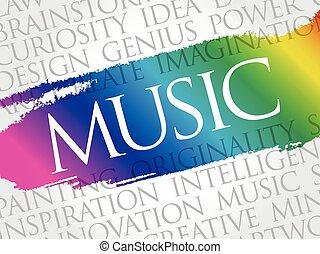 音楽, 雲, コラージュ, 単語