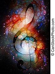 音楽, concept., バックグラウンド。, effect., 音部記号, ガラス, stars., 色, 抽象的...