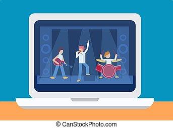 音楽, guitar., ドラム, teleconference., 有名, screen., マレ, ...