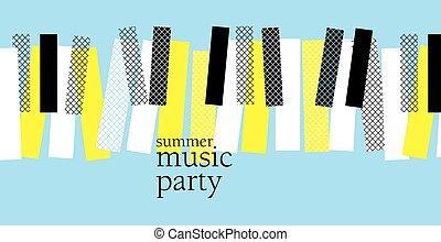 音楽, illustration., 印刷, ベクトル, テンプレート, デザイン, パーティー, セッション, コンサート, 網, ピアノ, 夏, ジャズ, 概念, ポスター, 現代