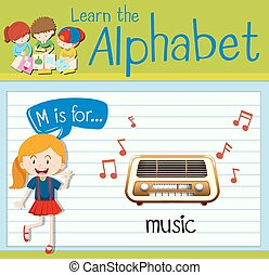 音楽, m, 手紙, flashcard