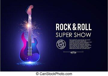 音楽, template., コンサート, 岩, &, electirc, 回転しなさい, フライヤ, 照ること, ...