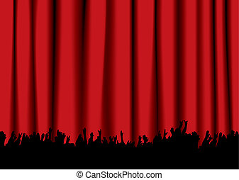 音樂會, 人群, 紅的帘子