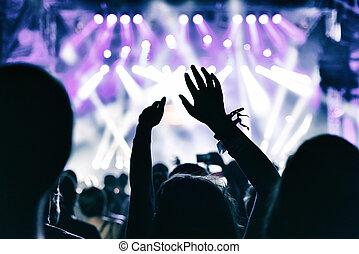音樂會, 人群, 鼓掌歡迎