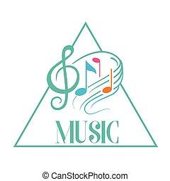 音樂, 三角形, 框架, 音樂注釋, 背景, 矢量, 圖像