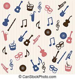 音樂, 元素, seamless, 圖案