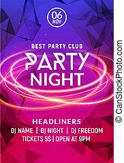音樂, 夜晚, template., 音樂會, 俱樂部, 迪斯科, 跳舞, 電, 風格, 飛行物, 邀請, 海報, 事件, 黨