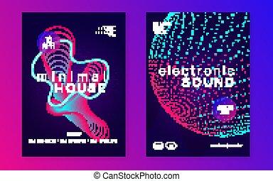音樂, 聲音, dj., 跳舞, fest., 電, 電子, 氖, techn, flyer.