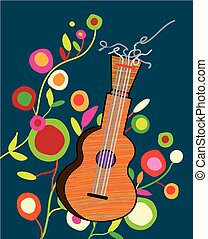 音樂, 背景, wtih, 吉他, 以及, 花, -, 明亮, 招貼