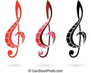 音部記号, カラフルである, イラスト, 印
