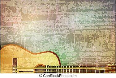 音響, ベクトル, 音, イラスト, 抽象的, 灰色, ギター, グランジ, 背景, 型