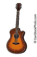 音響, 彫版, 色, 型, guitar., ベクトル, イラスト