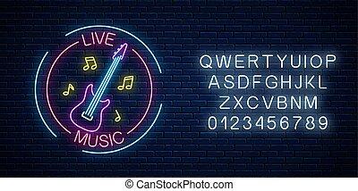 音, バー, 電気である, ネオン, 看板, 生きている, 印, ギター, 白熱, 音楽, 広告, alphabet., カフェ