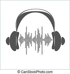 音, ベクトル, headphones., 波