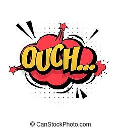 音, レタリング, 芸術, ouch, ポンとはじけなさい, 効果, 漫画, 赤