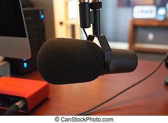 音, 家, 録音, equipment., マイクロフォン, studio.