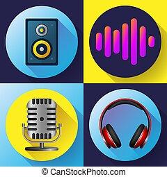 音, 平ら, スタイル, セット, 古い, アイコン, 音響効果, ヘッドホン, -, マイクロフォン, ボリューム, ミュージカル