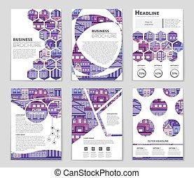 頁, 藝術, 摘要, 目錄, 空白, 設計, 風格, 小冊子, 布局, 旗幟, mockup, 飛行物, set.,...
