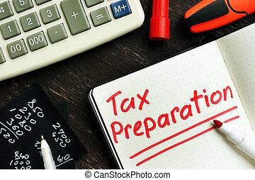 頁, notepad., 備忘錄, 稅, 準備