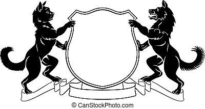 頂上, コート, ペット, heraldic, 腕, 保護