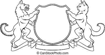 頂上, コート, 犬, heraldic, 腕, ねこ, 保護