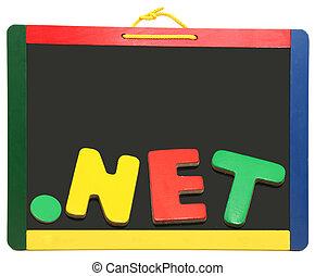 頂部, 水平, 領域, 點, 网, 上, 黑板